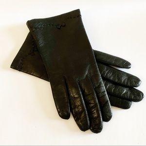Vtg Italian Black Buttery Leather Gloves Size 7
